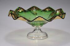 Ruffled Rim Hand Painted Floralw/Gold Gilt GREEN Card Receiver / Bowl - Bohemian