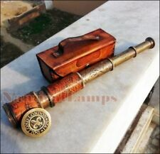 LOT OF 2 ANTIQUE BRASS TELESCOPE NAUTICAL LEATHER PIRATE SPYGLASS VINTAGE SCOPE