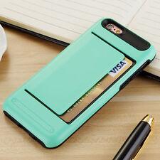 CLIP Case iPhone 4 5 6 S 7 Plus Credit Card Storage Wallet Apple Slot + GLASS