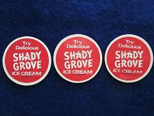 "3 Vintage ""Try Delicious Shady Grove Ice Cream"" milk bottle caps So. California"