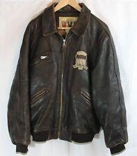 Vintage AVIREX Varsity Sports Brown Bomber Motorcycle Leather Jacket Size XL