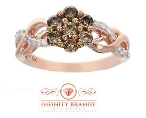 Infinity Brandy Diamond® Chocolate Brown 10K Rose Gold Bridal Design Ring .65 Ct