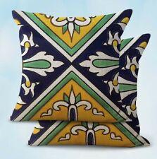 2Pcs decorative bed pillowcase Mexican majolica talavera cushion cover