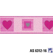 Bordüre AS 5312-16 Herzen pink Tapetenborte mit Herz Borte 5m Neu OVP