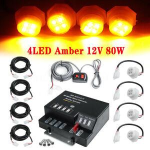 80W 12V 4LED Bulb Hide Away Emergency Warning Flash Strobe Light Amber Headlight