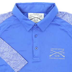 "Grunt Style Men XL 47"" This We'll Defend Polo Shirt Blue Polyester Military"