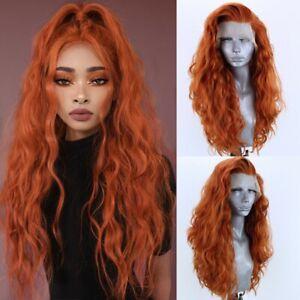 24inch Synthetic hair Lace front wigs Handtied Long Wavy Orange Full Head Women