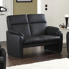 Sofa Bornholm 2-Sitzer in Echtleder schwarz inkl. Nosagfederung Breite 140 cm