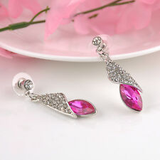 New Fashion Dangle Hook Silver Plated Crystal Rhinestone Women Ear Stud Earrings