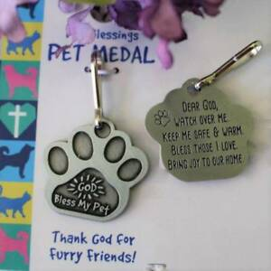Pet Medal Tag Charm Paw Print God Bless My Pet Keep Me Warm Cat Dog 7/8 inch Pot