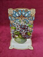 Antique Vintage Victorian Valentine's Day Card 3-D Die Cut Floral Pot Germany