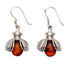 Sterling Silver Bumble Bee Wire Earrings w/Amber Body - Se815