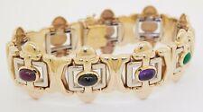 Vintage heavy 14K gold Italy 9.0CTW amethyst sapphire ruby emerald link bracelet