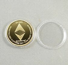 Gold Plated Commemorative Collectible Golden Iron ETH Ethereum Miner Coin XNB01