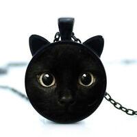 Round Painting Black Cat Necklace Jewelry Handmade Chain Charm Feline Halloween