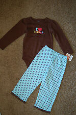 "NWT Carter's 2 piece set LS Embroidered bodysuit pants ""I Love Kisses"" 24M"