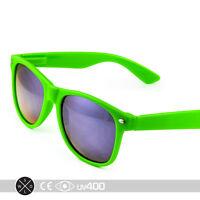 Retro Neon Green Frame Party Sunglasses Blue Mirror Lens Free Case S005