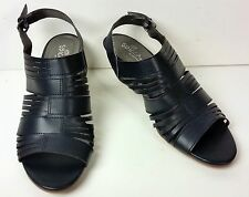 Black womens stacked wedge heel open toe sandals 9m Sbicca of California