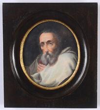 """Portrait of an old man"", German miniature, ca. 1850"
