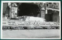 Imperial Movie Theater Sign  Long Beach California 1933 Earthquake Damage RPPC