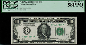 1928A $100 Federal Reserve Note - Chicago FR. 2151-G - PCGS 58PPQ