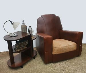 Art Deco Pair Of Leatherette Armchairs