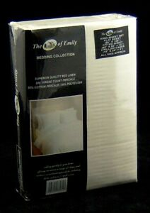 "King Size Sheet Set 4 Pce Cream 12"" Deep Fitted Flat Sheet 2 Pillowcases 200 Tc"