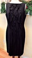 Ann Taylor Ruffled Sheath Dress 14 Black Wool LBD Cocktail Stretch Lined