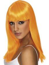 Neon Orange Glamourama Wig Long Straight w/ Fringe Smiffys Fancy Dress Costume