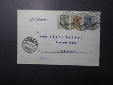 Germany 1907 Uprated Germania Postal Card to Luzern (III) - Z12308