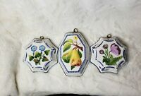 Vintage Bassano ABC Italian Jello Mold Lot of 3 Hand Painted Floral Wall Decor