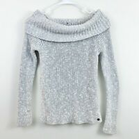 Hollister Gray Chunky Knit Off Shoulder Fitted Ribbed Sweater Womens Size Small
