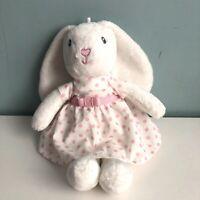 "M&S White Bunny Rabbit Soft Toy Plush Comforter White Pink Spotty Dress 9"" Gift"