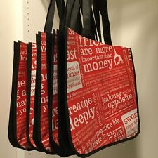 5 red LULULEMON reusable large tote bags