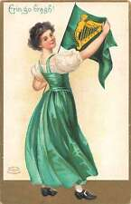 Erin go Bragh St Patrick's Day greeting young lady pennant antique pc Z25877
