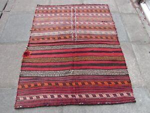 Vintage Traditional Kilim Hand Made Oriental Wool Red Blue kilim 155x120cm