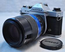 Asahi Pentax K1000 SLR 35mm Film Camera w Kiron 105mm f2.8 Macro Lens