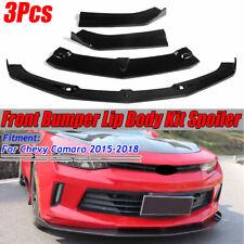For 2015-2018 Chevrolet Camaro SS LS RS Gloss Black Front Bumper Lip Spoiler 3PC