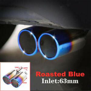 63mm Inlet Toasted Blue Stainless Steel Car SUV Dual Exhaust Pipe Tip Muffler