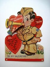 Vintage Mechanical Valentine Card w/ Soldier Blowing Bugle *