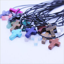 wholesale 12 PCS Natural Stone cross Pendant Necklace 28*20*5mm