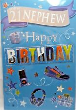 21st NEPHEW BIRTHDAY CARD AGE 21  MODERN DESIGN QUALITY CARD LOVELY VERSE