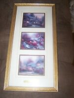 Beautiful Framed Prints, Authentic Thomas Kinkade Cottage Memories Trio & COA