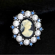 Pearl Silver Brooch Pins Rhinestone Pin Antique Brooches Jewelry Cameo Gift