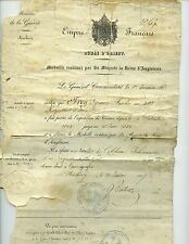 FRANCE -Diplome  British Crimea medal to 39th Regt of Line, & wound certificate