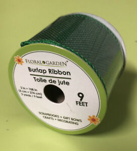 GREEN BURLAP RIBBON 2in Wide  With 9ft   ( Green )
