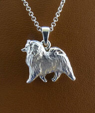 Small Sterling Silver Keeshond Moving Study Pendant