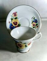 Royal Imperial Bone China Pansy Pattern Cup And Saucer