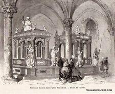 GRAVURE 1862 ENGRAVING DANEMARK DENMARK EGLISE ROSKILDE CHURCH KING TOMB