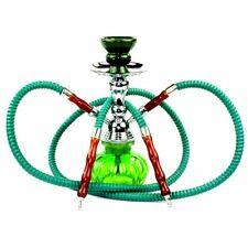 Hookah 2 Hose Set Green Glass Vase Tobacco Bong Smoking Water Pipe Shisha Smoke